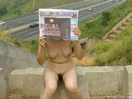 Chinese slut with hairy pussy naked outdoor